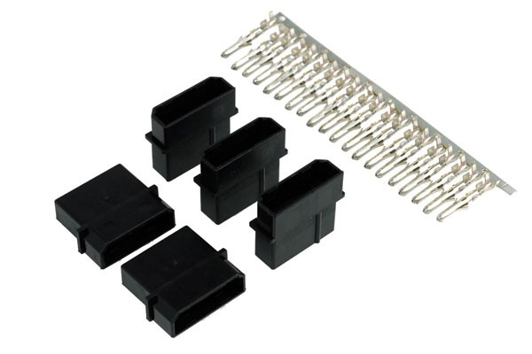 Phobya PSU Power Connector 4Pin Molex Buchse inkl. 4 Pins - 5 Stück Black