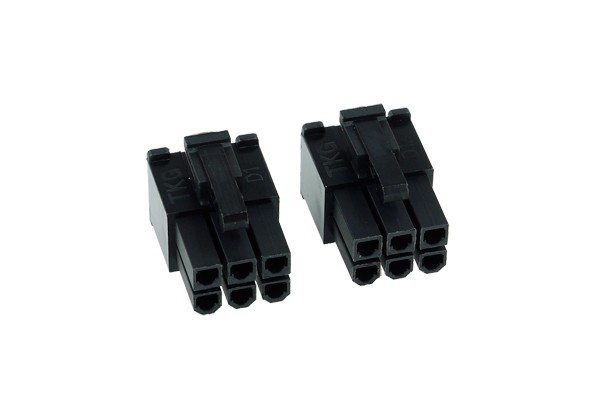 Phobya VGA Power Connector 6Pin Stecker (4-eckig) inkl. 6 Pins - 2 Stück Black